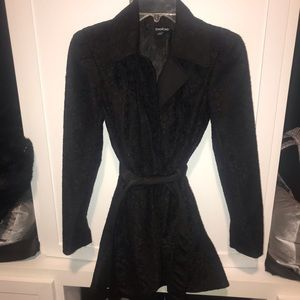 Black lace trench coat